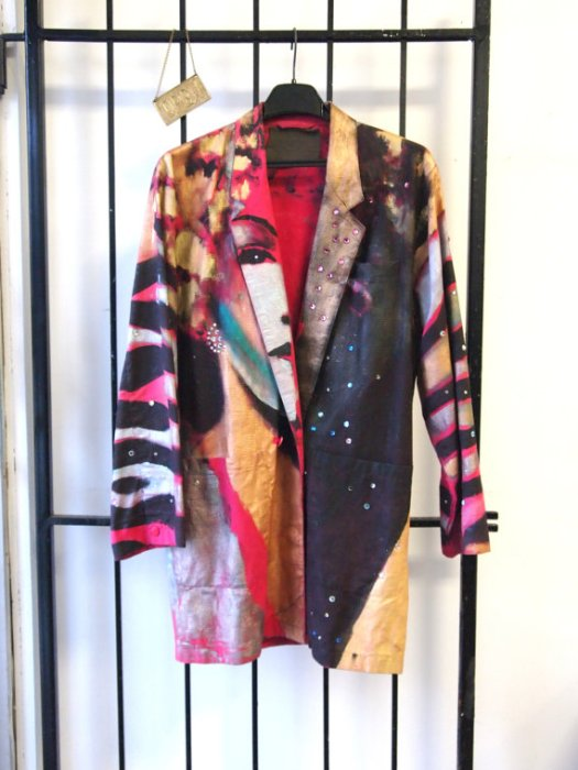 Bad Ass Vintage 1990s Crazy Colourful Hand Painted One of a Kind Bejewelled Hollywood Marlene Dietrich Graphic Party Rave Metallic Blazer- FRONT- THE EYE OF FAITH VINTAGE