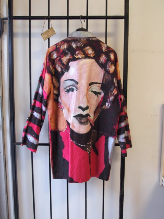 Bad Ass Vintage 1990s Crazy Colourful Hand Painted One of a Kind Bejewelled Hollywood Marlene Dietrich Graphic Party Rave Metallic Blazer