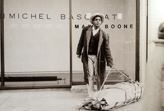 EOF STYLE IDOL- BASQUIAT POSES INFRONT OF MATT BOONE GALLERY IN NYC- VINTAGE