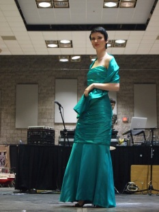 Danielle B. is ravishing in a green evening gown from VINTAGE SOUL GEEK