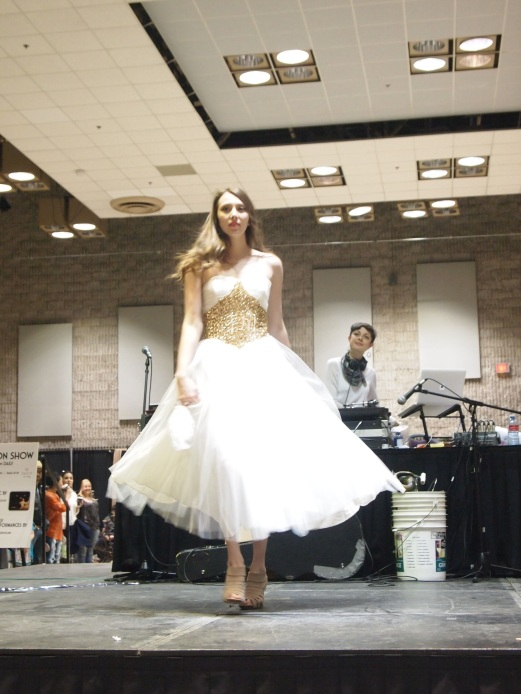 Tess G. sparkles in an angelic white tulle and gold sequin party gown from VINTAGE SOUL GEEK