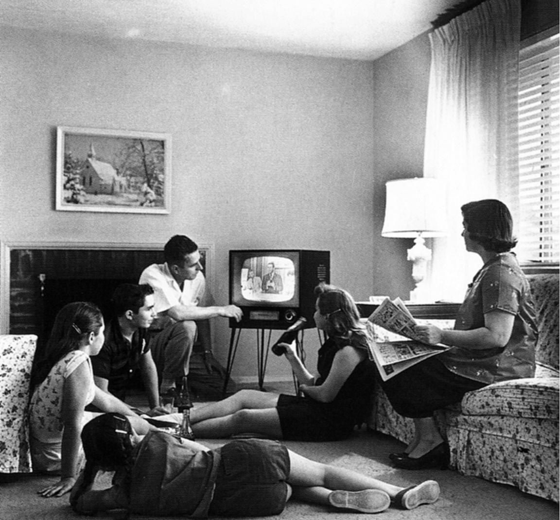 THE EYE OF FAITH ON TV- Vintage Photo of Family Watching Television - 1958