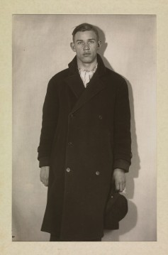 1930S SNAPSHOT OF HANDSOME YOUNG MAN IN BLACK WOOL COAT- MENS FALL INSPIRATION- THE EYE OF FAITH VINTAGE- SWEATER WEATHER 1