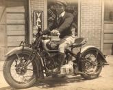 Bad Ass Harley Davidson Dude with Cigar- Vintage Snapshot- MALE STYLE ICON TO THE MAX- MENS FALL INSPIRATION- THE EYE OF FAITH VINTAGE- SWEATER WEATHER