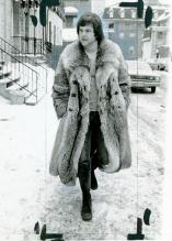 "A model wears an ""Arctic Long"" mink coat in this Women's Wear Daily photo. Feb. 7, 1973. Morgue01"