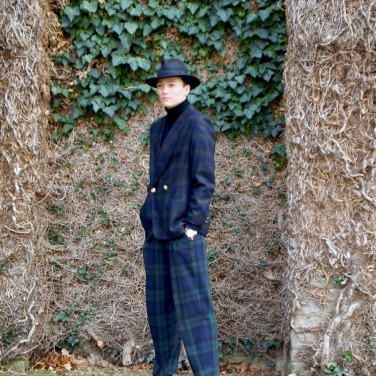 Braeden in slouchy green oversized plaid graphic single doublebreasted blazer and plaid pleated trousers from The Eye of Faith {Vintage}