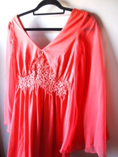 The Eye of Faith Vintage Summer 2017- New Vintage Finds- Rare 1970s Boho Goddess Coral Maxi Dress with Sheer Bell Sleeves- Etsy Shop