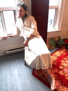VINTAGE 60s PSYCH ROCK LINEN KAFTAN ROBE - THE EYE OF FAITH VINTAGE- PSYCH ROCK INSPIRATION
