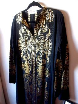 VINTAGE BLACK AND GOLD METALLIC KAFTAN ROBE- THE EYE OF FAITH VINTAGE- DETAIL