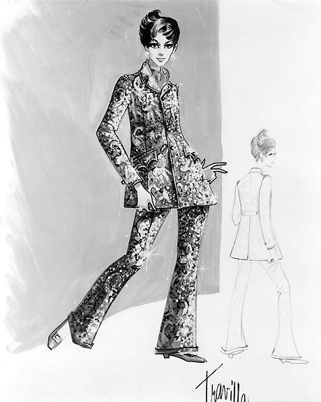 Judy Garland - Costume Sketch- Embroidered Suit- Valley of the Dolls - The Eye of Faith Vintage Blog