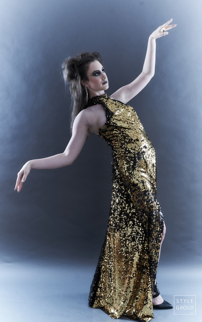 The Eye of Faith- Fashion Design- Black and Gold Reversible Sequin Evening Gown
