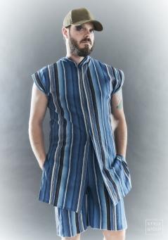 The Eye of Faith- Fashion Design- Blue Graphic Stripe Short and Shirt