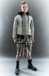 The Eye of Faith- Fashion Design- Distress Denim Handpainted Bomber Jacket: Stripe Linen Tie Shorts