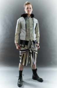 The Eye of Faith- Fashion Design- Distress Denim Handpainted Bomber Jacket: Stripe Linen Tie Shorts