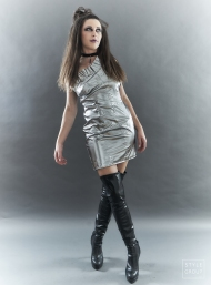 The Eye of Faith- Fashion Design- Metallic Silver Party Dress