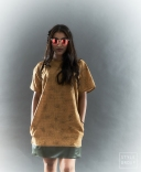 The Eye of Faith- Fashion Design- Mustard Graphic Shirt Dress w: Olive Vinyl Stripe