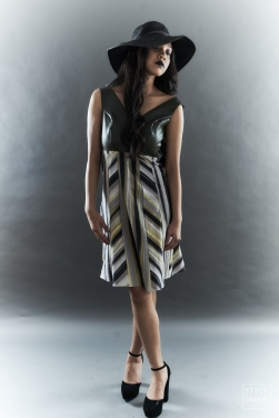 The Eye of Faith- Fashion Design- Olive Vinyl and Stripe Linen Graphic Day Dress