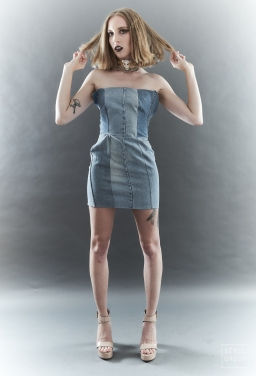 The Eye of Faith- Fashion Design- Reclaimed Denim Mini Dress