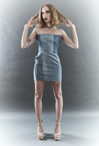 The Eye of Faith- Fashion Design- Reclaimed Denim Mini Dress