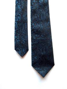 The Eye of Faith {Vintage} Blog Shop - Mens Vintage 1960s Rockabilly Retro Metallic Paisley Brocade Chic Sophisticated Dapper Dandy Skinny Neck Tie-1
