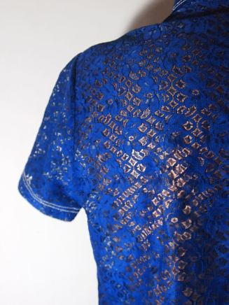 The Eye of Faith {Vintage} Blog Shop - Mens Vintage 1970s Luxe Playboy Navy Blue Lace Short Sleeve Sophisticated Chic Dapper Dandy Party Shirt-2
