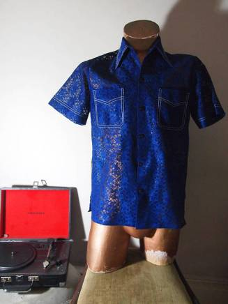 The Eye of Faith {Vintage} Blog Shop - Mens Vintage 1970s Luxe Playboy Navy Blue Lace Short Sleeve Sophisticated Chic Dapper Dandy Party Shirt