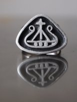 The Eye of Faith {Vintage} Blog Shop - Mens Vintage Mysterious Silver Pewter Cross and Ship Secret Society Ring
