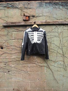 The Eye of Faith {Vintage} Blog Shop - Mens Vintage Repurposed Handpainted Skeleton Bones One of a Kind Black Leather Motorcycle Jacket-1