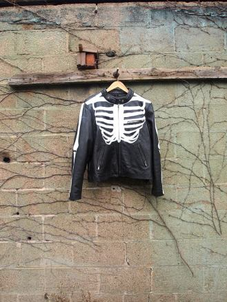 The Eye of Faith {Vintage} Blog Shop - Mens Vintage Repurposed Handpainted Skeleton Bones One of a Kind Black Leather Motorcycle Jacket-1