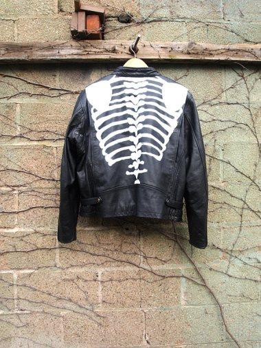 The Eye of Faith {Vintage} Blog Shop - Mens Vintage Repurposed Handpainted Skeleton Bones One of a Kind Black Leather Motorcycle Jacket-2