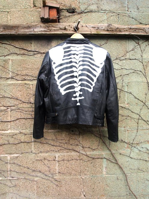 The Eye of Faith {Vintage} Blog Shop - Mens Vintage Repurposed Handpainted Skeleton Bones One of a Kind Black Leather Motorcycle Jacket-2