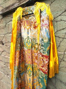 The Eye of Faith {Vintage} Blog Shop - Mens Vintage Repurposed Luxe Exotic Tapestry Mustard Velvet Long Sleeve Fringe Hadmade Designer Kimono Party Jacket-1