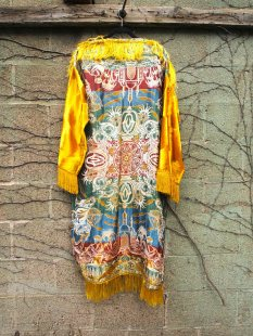 The Eye of Faith {Vintage} Blog Shop - Mens Vintage Repurposed Luxe Exotic Tapestry Mustard Velvet Long Sleeve Fringe Hadmade Designer Kimono Party Jacket-2
