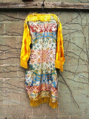 The Eye of Faith {Vintage} Blog Shop - Mens Vintage Repurposed Luxe Exotic Tapestry Mustard Velvet Long Sleeve Fringe Hadmade Designer Kimono Party Jacket-2
