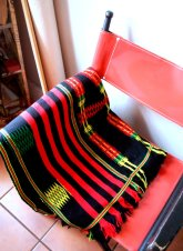 The Eye of Faith Vintage Blog and Shop- Bad and Boujee- Vintage 1960s Bright Black Red and Neon Yellow Mexican Blanket