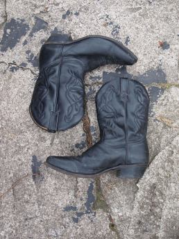 The Eye of Faith Vintage Blog and Shop- Mens Vintage Black Leather Motorcycle Cowboy Western Boot