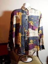 The Eye of Faith Vintage Blog Shop- Bad and Boujee- Lavish 1980s Mens Slouchy Playboy All Over Graphic Silk Shirt