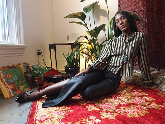 The Eye of Faith Vintage Blog Shop- Bad and Boujee- Vintage 1980s Rock N Roll Black Leather Trouser w: Zipper Details