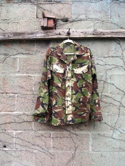The Eye of Faith Vintage Blog Shop- Bad and Boujee- Vintage Mens Distressed Gold Foil Spiked Embellished Oversized Camo Army Jacket