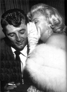 PARTY PEOPLE- THE EYE OF FAITH VINTAGE STYLE BLOG- I HAVE A SECRET- MARILYN MONROE WHISPERS TO ROBERT MITCHUM