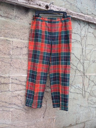 The Eye of Faith Vintage Blog Shop- Leather Shearling Bomber- Ralph Lauren Plaid Trouser