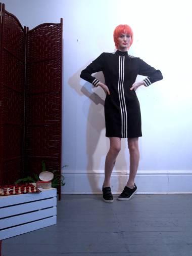 The Eye of Faith Vintage Blog Shop - Style Inspiration - Retro Future 90s Fashion- Black and White Stripe Mini Dress