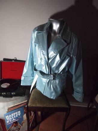 The Eye of Faith Vintage Blog Shop - Style Inspiration - Retro Future 90s Fashion- Pastel Blue PVC Jacket