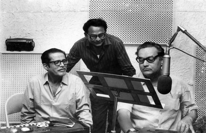 Music director V Balsara, Mittu Ghosh and Singer Mukesh. Express archive photo