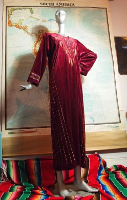 The Eye of Faith Vintage Blog Shop- Style Inspiration- Romeo and Juliet-Romeo Mens Fashion Clothing- 1960s Embroidered Embellished Red Velour Caftan Robe