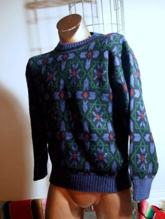 The Eye of Faith Vintage Blog Shop- Style Inspiration- Romeo and Juliet-Romeo Mens Fashion Clothing- Stain Glass Print Vintage Mens Graphic Sweater