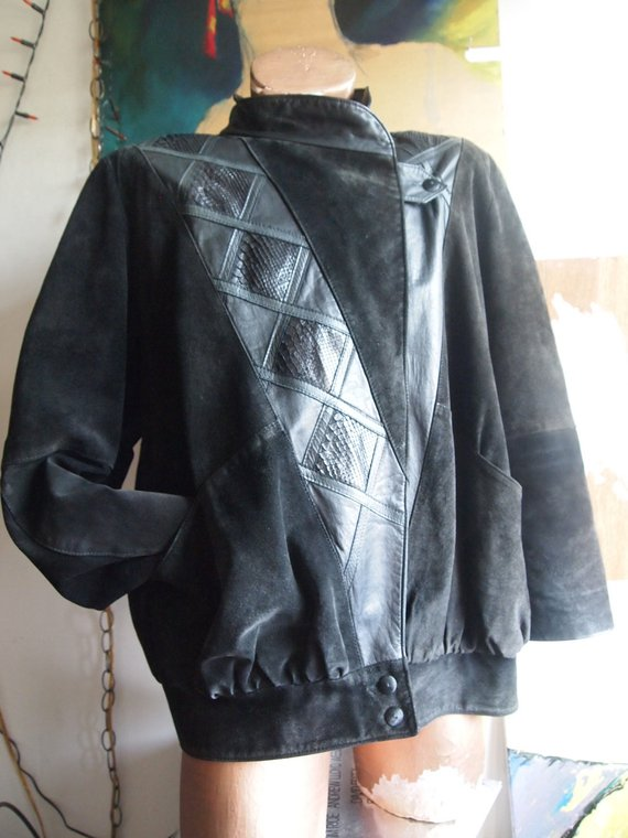 The Eye of Faith Vintage Blog Shop- Style Inspiration- Romeo and Juliet-Romeo Mens Fashion Clothing- Unusual Black Suede Snakeskin Leather Structured Bomber