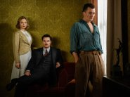 STRANGE ANGEL - Pictured (l-r): Bella Heathcote as Susan Parsons; Jack Reynor as Jack Parsons; Rupert Friend as Ernest Donovan. Photo Cr: Frank W. Ockenfels III/CBS ©2018 CBS Interactive, Inc. All Rights Reserved.