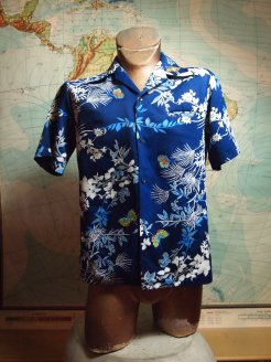The Eye of Faith Vintae Blog Shop- Mens 1970s Sears Hawaiian Blue Tropical Shirt
