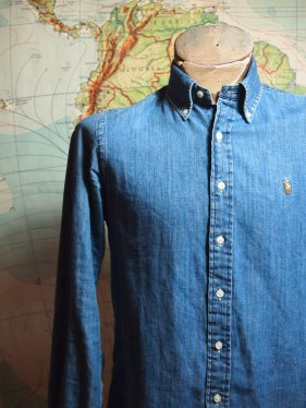 The Eye of Faith Vintae Blog Shop- Mens 1980s Blue Denim Ralph Lauren Button Down Shirt